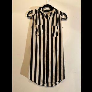 river island black and white striped dress
